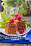 Honey cakes in the shape of squares decorated with Royalty Free Stock Images