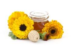 Honey and calendula flowers stock photography