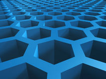 Honey cellular background. Abstract 3d blue honey cellular pattern background stock illustration