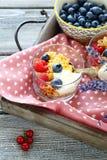 Honey cereal, yogurt and berries for breakfast Stock Images