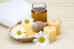 honey and chamomile bath Stock Photo