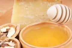Honey, cheese and walnuts Royalty Free Stock Image
