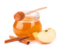 Honey, cinnamon, apple. Royalty Free Stock Photos