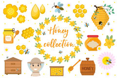 Honey collection. Beekeeping set of objects isolated on white background. Apiculture kit of design elements flat Stock Photos