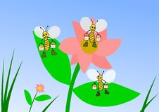 Honey Collectors. Three bees are out gathering honey on a pink flower Royalty Free Stock Photo
