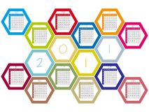 Honey comb 2011 calendar. Against white background, abstract vector art illustration Royalty Free Stock Image