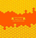 Honey comb. Background with bee logo stock illustration