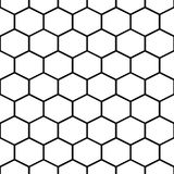 Honey comb cells vector seamless pattern. Hexagon tile background in black and white stock illustration