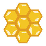Honey comb flat design vector icon on white Royalty Free Stock Image