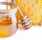 Honey Comb, frasco e varinha imagem de stock royalty free