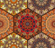 Honey Comb Hex Pattern de fleur Mandala Brown Image stock