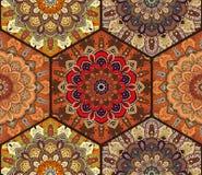 Honey Comb Hex Pattern de la flor Mandala Brown Imagen de archivo