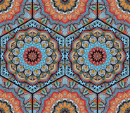 Honey Comb Hex Pattern Flower Mandala Blue Orange Fotografie Stock Libere da Diritti