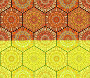Honey Comb Hex Pattern Flower Mandalas Royalty Free Stock Photos