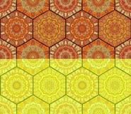 Honey Comb Hex Pattern Flower-Mandalen Lizenzfreie Stockfotos