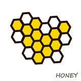 Honey comb. Icon for beekeeping. Illustration on theme of an apiary and a bee. Stock Image