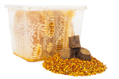 Honey comb and pollen with propolis Stock Photos