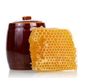 Honey comb with pot Stock Image