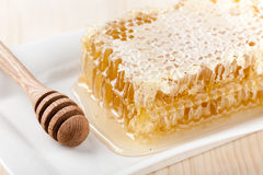 Honey comb on wooden table Royalty Free Stock Photos