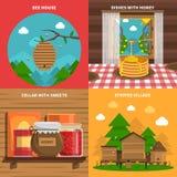 Honey Concept Icons Set Immagini Stock Libere da Diritti