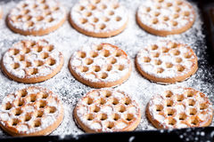 Honey cookies on baking sheet Royalty Free Stock Images