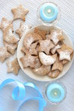 Honey cookies, sprinkle with powdered sugar for Christmas Stock Photos