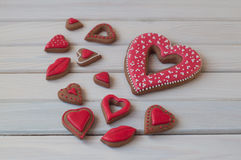Honey cookies to St. Valentines day lay on wooden table Stock Photography
