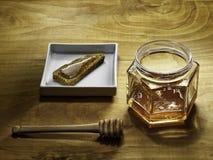 Honey and corn bread Royalty Free Stock Photography