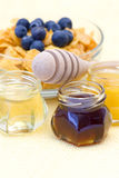 Honey and corn flakes with blueberry Royalty Free Stock Image