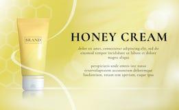 Honey Cosmetics Background Concepto del suero del cuidado de piel Promoción del vector Imágenes de archivo libres de regalías