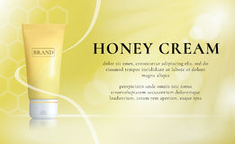 Honey Cosmetics Background. Skin Care Serum Concept. Vector promotion. Royalty Free Stock Images