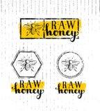 Honey Creative Sign Vector Concept cru Élément sain organique de conception de nourriture avec l'icône d'abeille sur le fond soui Images stock