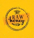 Honey Creative Sign Vector Concept crudo Elemento sano orgánico del diseño de la comida con el icono de la abeja en fondo manchad Fotos de archivo