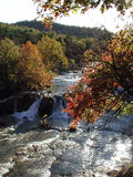 Honey Creek Autumn. Honey Creek spills over Turner Falls in Oklahoma ablaze with fall color Royalty Free Stock Photo