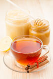 Honey and cup of healthy tea Royalty Free Stock Images