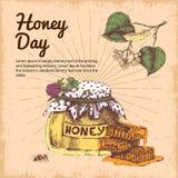 Honey Day Hand Drawn Design Immagini Stock