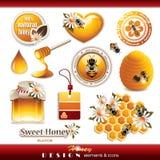 Honey Design Elements en Pictogrammen Royalty-vrije Stock Foto's