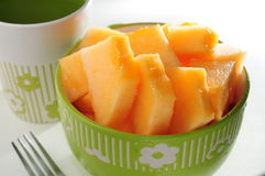 Honey dew melon. In bowl Royalty Free Stock Photo