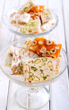 Honey and different sorts of nut nougat Stock Image