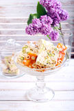 Honey and different sorts of nut nougat. Slices in a vase Royalty Free Stock Images