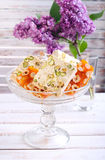 Honey and different sorts of nut nougat Stock Photography