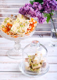 Honey and different sorts of nut nougat. Slices in a vase Stock Images