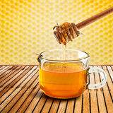 Honey dipper and bee Stock Photo
