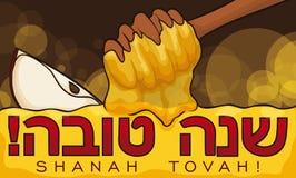 Honey Dipper Covering che una mela deliziosa affetta per Rosh Hashanah, illustrazione di vettore illustrazione di stock
