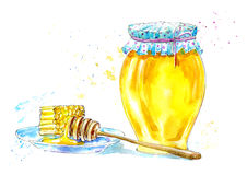 Honey dipper and honeycomb on a saucer. Picture of a dessert. Watercolor hand drawn illustration Royalty Free Stock Images