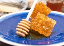 Honey Dipper Leans Against Stack de Honey Comb fotos de stock
