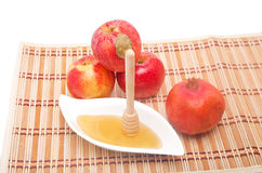 Honey dipper with pomegranate Stock Images