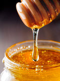 Honey dripping from honey-dipper close up Royalty Free Stock Photos