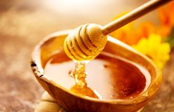 Honey dripping from honey dipper in wooden bowl. Healthy organic thick honey pouring from the wooden honey spoon. Closeup stock photos