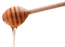 Honey dripping from a wooden honey dipper isolated on white back Stock Photography